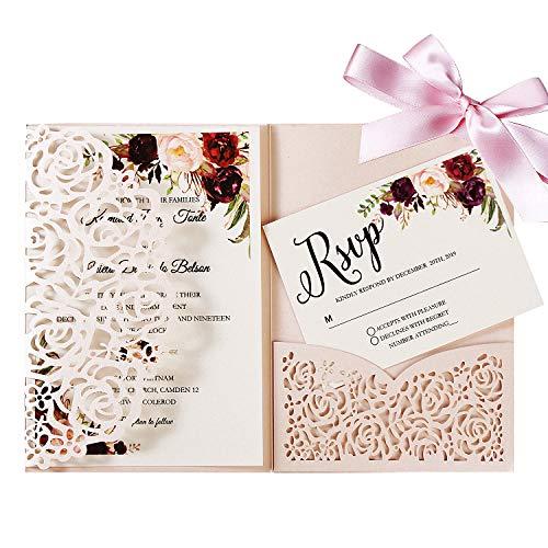 Hochzeitseinladungskarten Mit Umschlägen -20 Stück Lasercut Spitze Tri-Fold Seidenband Brautpartys Hochzeiten Einladungskarten inkl Umschläge (Erröten Rosa)