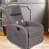 GOOD & GRACIOUS Recliner Chair, Morden Recliner Massage Chair Small Recliner Chair for Bedroom,Living Room, Heavy Duty, Grey
