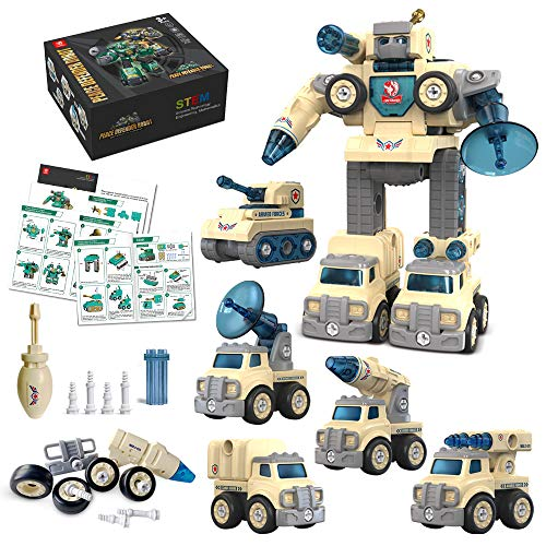 5 in 1 Take Apart Robot Toys Big Tall Building Robot Transtruck Transformers Assembly Military Vehicles Sets STEM Learning Toy Gift for 3 4 5 6 Years Old Boys Kids(Khaki)