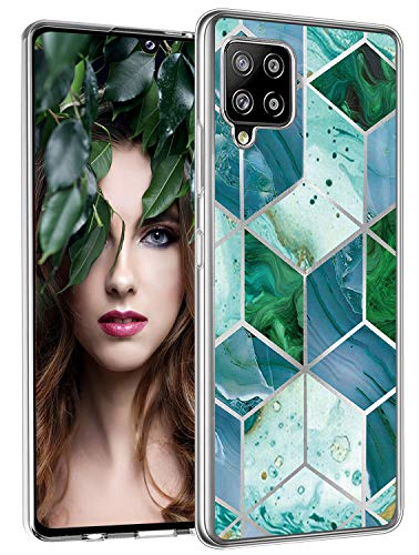 Opplei A42 Silicone Case Compatible with Samsung Galaxy A42 5G Case Phone Cover Clear Bumper TPU Soft Protective Case Glitter Marble Design Transparent Ultra Thin Original Case for Samsung A42 Shell