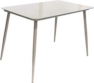 AltoBuy Tanita - Table Repas Rectangulaire Plateau Verre Gris
