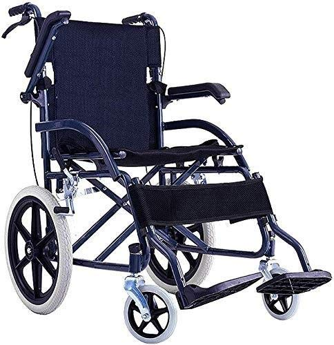 XUSHEN-HU Sillas de ruedas ligeras de conducción médica para adultos suministros médicos, silla de ruedas portátil viejos carros discapacitados pequeña rueda sólida silla de ruedas de viaje