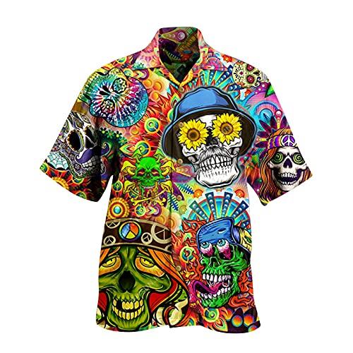 Farbstreifen Hemd Herren Kurzarm Relaxed-fit Shirt Sommer Hawaii Männer Retro Ethnische Freizeithemd Sommer Strand Gemustertes Grandad Hemd