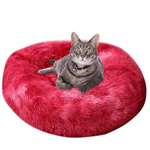 Vejaoo Haustierbett für Katzen Rundes Plüsch Katzensofa EIN süßes Donut geformtes Heimsofa XZ002 (Diameter:80cm, Tie-dye Wine Red)