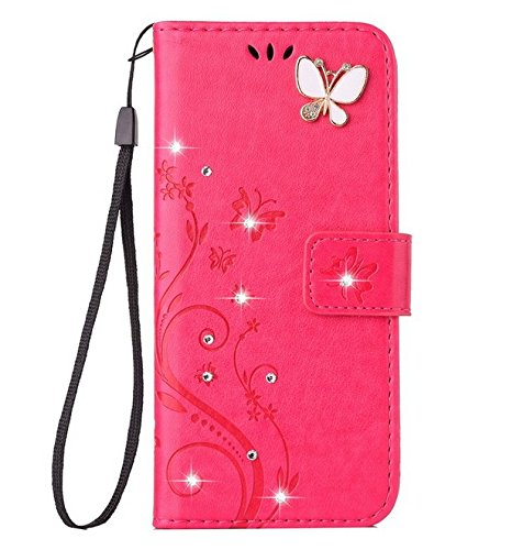Auroralove iPhone se/5/5s Luxury Handmade Bling Rhinestone Soft Slim Flip Stand Wallet Case for iPhone 5/5s Flower Butterfly PU Leather Case for Girls Women-Rose Red