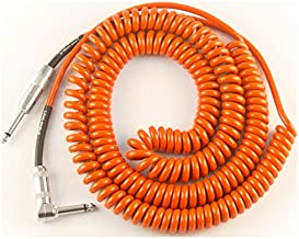 Lava Retro Coil 20-Foot Silent Instrument Cable Straight-Right Angle, Assorted Colors Orange