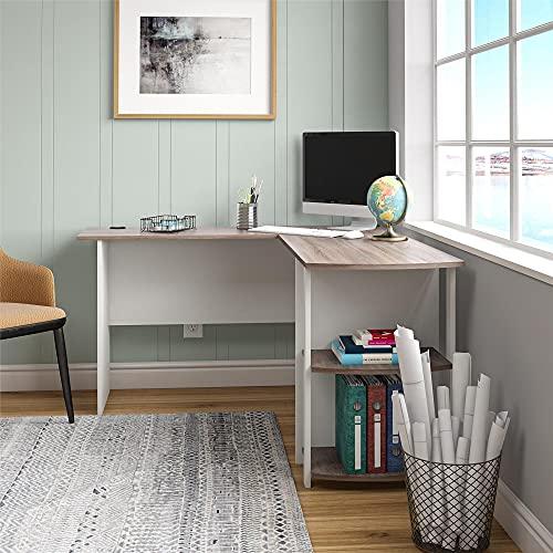 Ameriwood Home Dakota L-Shaped Desk with Bookshelves, White/ Sonoma Oak