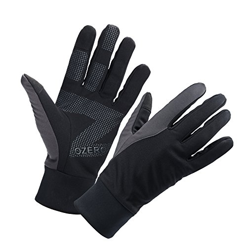 OZERO Driving Gloves for Men, Winter Warm Bike Glove for Smart Phone Texting with Non-Slip Silicone Gel - Thermal Windproof and Waterproof for Running, Cycling - Black