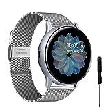 YHC Correas Compatible con Samsung Galaxy Watch Active 2,Pulsera de Reloj Tejida de Acero Inoxidable de 20mm para Galaxy Watch 42mm/Gear S2 Classic/Gear Sport (Plata)