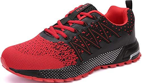 SOLLOMENSI Zapatillas de Deporte Hombres Mujer Running Zapatos para Correr Gimnasio Sneakers Deportivas Padel Transpirables Casual Montaña 44 EU H Rojo