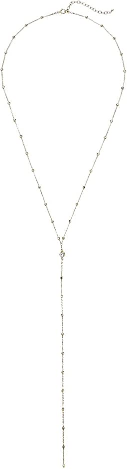 Beaded Chain w/ Crystal Y Necklace
