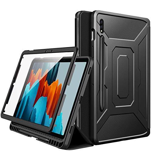 MoKo Funda Compatible con Samsung Galaxy Tab S7 11 Inch 2020 SM-T870/SM-T875, [Protector de Pantalla Incorporado] Cubierta con Auto Estela/Sueño y Soporte de Pencil, Negro