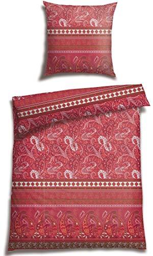 Casatex Bettwäsche BALIM 100% Baumwoll Satin modernes Landhaus Bordürendruck mit Paisleys und Ornamenten absolut hip Bettwäsche-Set zum Träumen 200 cm x 200 cm Koralle-rot