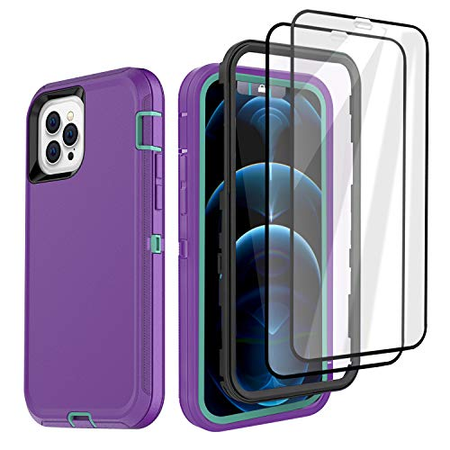Defense iPhone 12 Case iPhone 12 Pro with Two Screen Protector Tempered Glass 3 Layer Rugged Heavy Duty Cases for iPhone 12/ iPhone Pro 6.1 inch (Light Purple/Pool Blue)