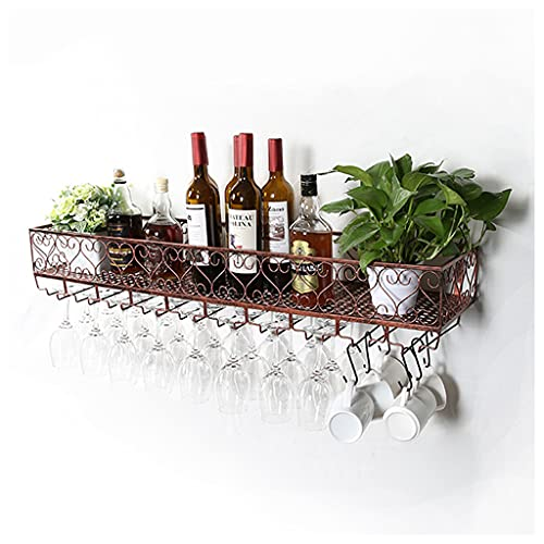 LWF Marrón Estante De Vino montado Pared Metal Vintage Porta Botella y Vaso Suspensión Stemware Organizador Almacenamiento Botelleros para Vino para Bar/Cocina/gabinete Marrón(Size:30CM)