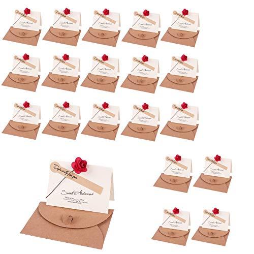 メッセージカード 花束 ローズ ミニ プチ 一言メッセージ グリーティングカード 誕生日カード 記念日カード 祝いカード 感謝状 結婚式 母の日 卓上札 席札 おしゃれ お祝い 封筒 シール 付き (20枚セット)