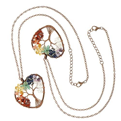 EXCEART 2Pcs Árvore da Vida Pingente para Colar de Pingente De Cristal De Quartzo Colar Amuleto Meditação Encantos de Pedras Preciosas