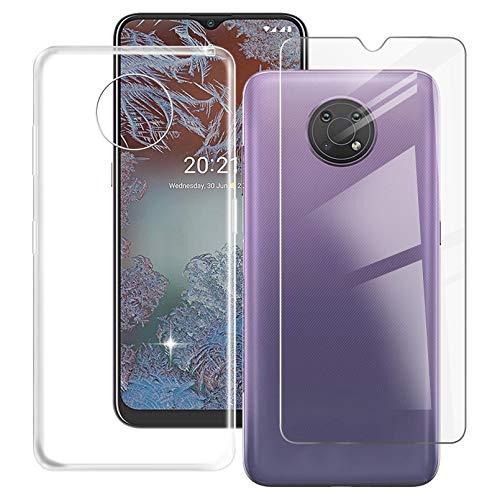 ZXLZKQ Fundas + Protector Cristal Templado para Nokia G10 (6.52 Pulgadas), Transparente Case Silicona Suave Caso TPU Carcasa,Vidrio Película Protectora - Clear