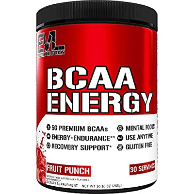 Evlution Nutrition BCAA Energy - Essential BCAA Amino Acids, Vitamin C, + Natural Energizers for Performance, Immune Support, Muscle Building, Recovery, B Vitamins, Pre Workout, 30 Serve, Fruit Punch