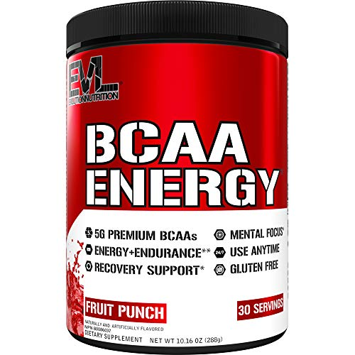 Evlution Nutrition BCAA Energy - Essential BCAA Amino Acids, Vitamin C & Natural Energizers for Performance, Immune Support, Muscle Building, Recovery, B Vitamins, Pre Workout, 30 Serve, Fruit Punch