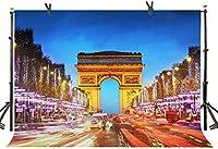 新しい夜の凱旋門の背景250×180cmファンタジーライト写真背景スタジオ小道具772
