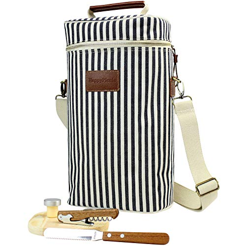 Isolierte Weintragetasche, 2 Flaschen Reisegetränke Kühltasche für Käse mit gratis Picknick-Set – Korkenzieher, Flaschenverschluss, Käsebrett aus Holz und Messer für den Vatertag
