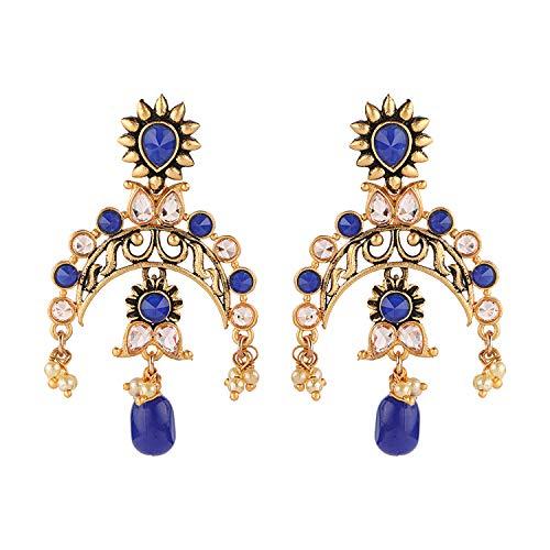 Ayat Bollywood - Pendientes para mujer, estilo indio, estilo étnico, tradicional, para boda, fiesta, color blanco