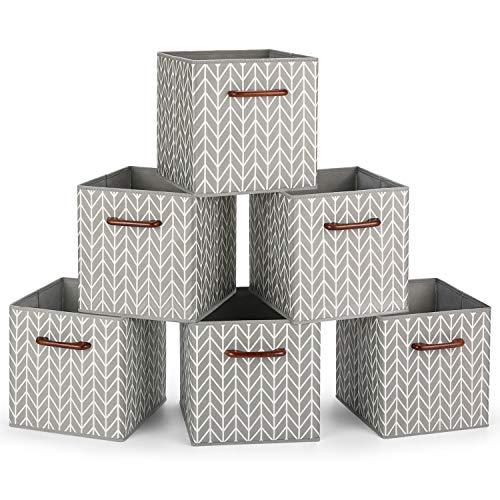 MaidMAX Cajas de Almacenaje Decorativas, Cubos de Almacenamiento Plegables con Mango de Madera, Set de 6 Cajas Organizadoras para Guardar Ropa, Juguetes, 26,7 x 26,7 x 27,9 cm
