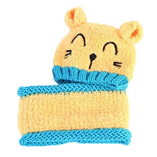 Vococal 2pcs bébé bébé mignon hiver chaud doux chat tricot beanie chapeau bonnet avec écharpe cercle pour 8-36 mois bambin filles garçons jaune