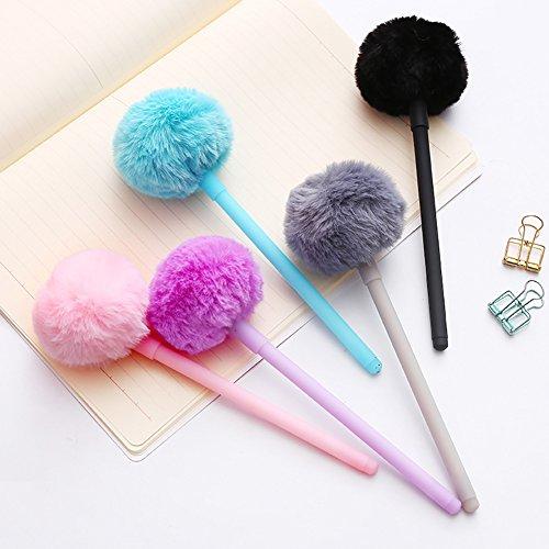 Academyus 0.5mm Cute Gel Pen Fluffy Ball Ballpoint pens School Office Supplies Writing Stationery Random Color