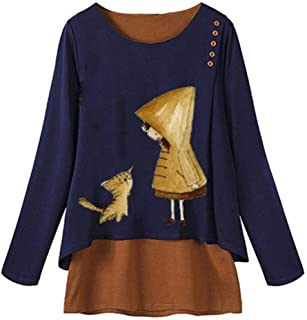 OULSEN Fashion Plus Size Women Blouse Cartoon Pattern Print Fake Two Pieces Loose Long Sleeve Tunics Top Shirt