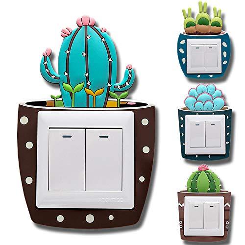 Nuevo Interruptor de luz con Forma de Cactus de Dibujos Animados, Enchufe Envolvente, Placa de Dedo, Cubierta de Panel, Caliente para decoración del hogar, Pegatina de Pared