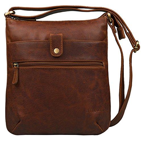 STILORD \'Lina\' Elegante Vintage Damen Umhängetasche Schultertasche klein Abendtasche Klassische Handtasche 10.1 Zoll Tablettasche echtes Leder, Farbe:Cognac - Dunkelbraun