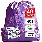 Stella Bolsas de Basura - Ecológicas y Reciclables - Hechas de Plástico Reciclable - Bolsas de Basura Fuertes y Flexibles - Aroma de Lavanda y Color Púrpura - 60L - con Tiras