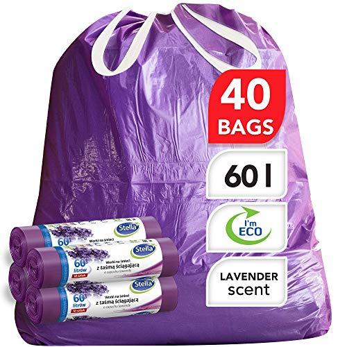 Stella Bio Müllbeutel - 60 L - 40 Stück - Umweltfreundlich und recycelbar - Mülltüten aus Kunststoffabfällen - Ultra-Starke und Flexible Müllsäcke - Lavendel Duft und Lila Farbe - mit Zugband