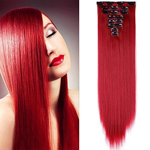 Clip in Extensions wie Echthaar Burgunderrot Haarteile Clips Haarverlängerung 8 Tresssen günstig Haar Extensions Glatt 26