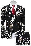MAGE MALE Men's 3-Piece Suit Notched Lapel Floral Print One Button Blazer Vest Pants Sets by MAGE MALE