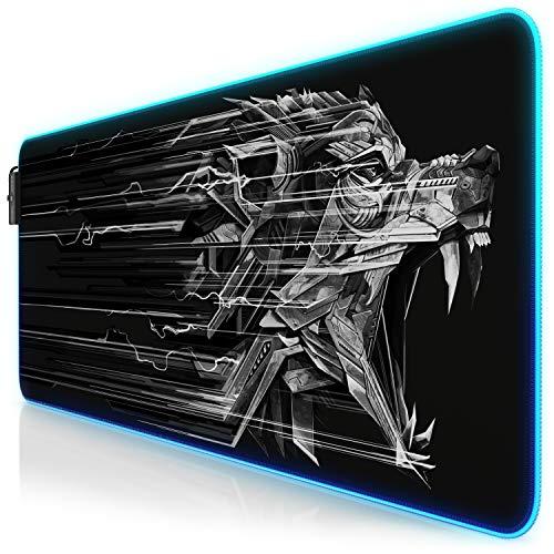 Titanwolf - RGB Gaming Mauspad Lightning - 800x300 mm - XXL Mousepad - LED Multi Color - 7 LED Farben plus 4 Effektmodi - für Präzision und Geschwindigkeit - Gummierte Unterseite - abwaschbar - Wolf