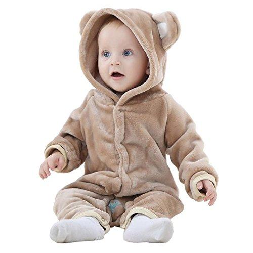 Michley Bambino Pagliaccetto in Flanella Ragazze Pigiama Orso Stile Autunno Inverno Vestito Carnevale Neonata, Brown-80cm
