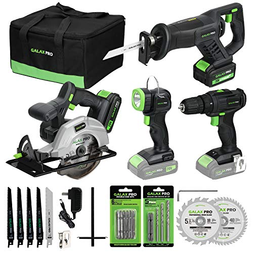"""GALAX PRO 20V Lithium Ion Cordless 4-Tool Combo Kit, 3/8"""" Dill Driver, Reciprocating Saw, 5-1/2"""" Circular Saw and Work Light, Two Lithium Batteries(1.3A+3A) and One Charger, Carrying Bag Included"""