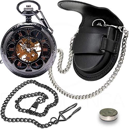 Kit Relógio De Bolso Mecânico Dark Steampunk C/Clip + Capa de Couro Legítimo Preta