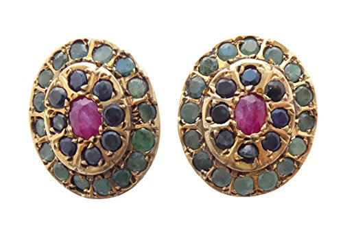 Ohr-Clips Edelstein-Mix roter Rubin kleine blaue Saphir- und Smaragd-Steine Silber vergoldet Handarbeit Unikat Italien Antik-Look Retro Luxus hochwertig Geschenk