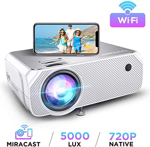 Bomaker Wi-Fi Mini Projector, Upgraded 5000 Lux, Portable HDMI Projector, Full HD 1080P Supported, Wireless Screen Mirroring and Miracast, for...