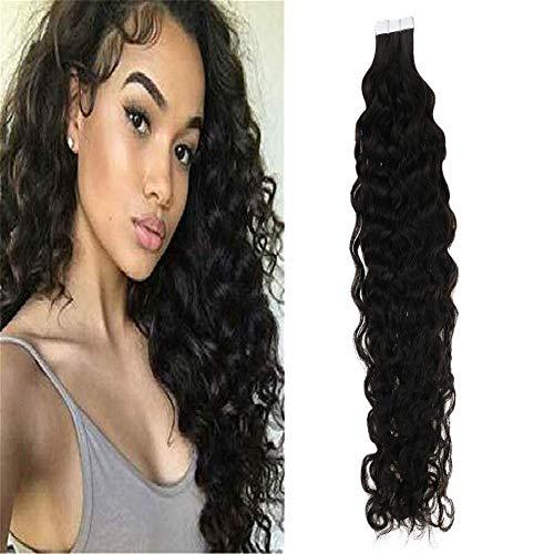 Sunny 20pcs Natural Wave Tape in Wavy Hair Extensions 20 Inch #1B Natural Black Brazilian Human Hair Glue in Extensions Invisible Hair Extensions for Women 50g