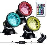 Luces Para Estanques con Control Remoto,Lychee LED RGB Proyectores Sumergibles para Exteriores Luces Subacuáticas Ajustables Color, para Estanques Acuario Jardín Piscina Fuente (3PCS)
