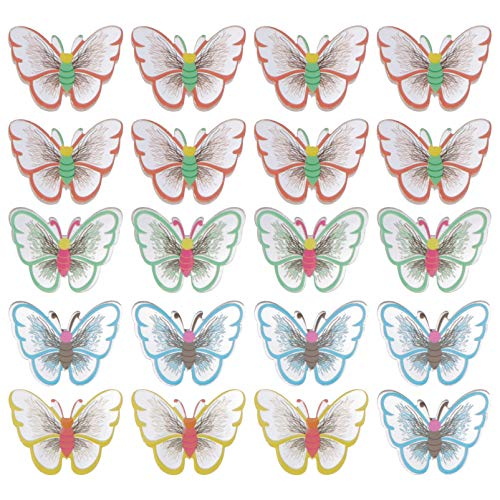 POPETPOP 20pcs Butterfly Dreadlocks Beads Acrylic Charms Hair Cuffs Clips Rings Colorful Braiding Hair Jewelry for Brooch Women Girls Hair Accessories Random color