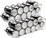 Greenco Refrigerator and Freezer Drink Holder Storage Bin, 13.5'x 5.5'x 3.75', Clear-(2 Pack)