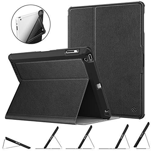 Fintie Hülle kompatibel mit iPad 4, iPad 3 und iPad 2 - [Eckenschutz] Robustes Soft TPU Rückseite Gehäuse für unterschiedliche Betrachtungswinkel, Auto Sleep/Wake, Schwarz