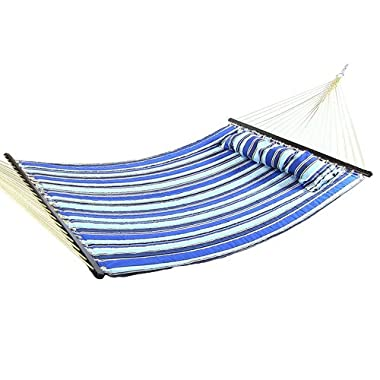 Sunnydaze 2 Person Double Hammock Spreader Bar, Quilted Fabric Bed Outdoor Patio, Porch Yard (Catalina Beach)