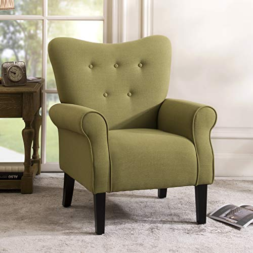 Merax Modern Upholstered Accent Chair Armchair for Bedroom, Living Room or Office, Linen, Including Thick Cushion and Wooden Legs, Avocado